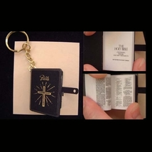 BIBLE KEYCHAIN-WWJD Christian Gift Jewelry-Real Printed Pages-BK - $4.97