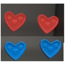 HEART BUTTON EARRINGS-Valentine's Day Jewelry-BLUE/RED-2-Pair - $4.97