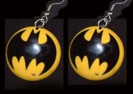 BATMAN EARRINGS-Huge Bat Signal Super-Hero Comics Funky Jewelry - $6.97
