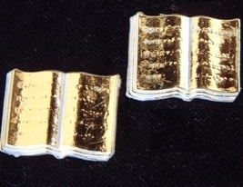 BIBLE BOOK BUTTON EARRINGS-Quinceanera Golden Rule Funky Jewelry - $6.97