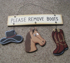 Wooden Sign  WD2106-Please Remove Boots - $2.25