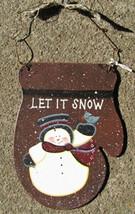 1166 - Tin Let It Snow Mitten Christmas Ornament - $2.25