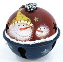 77754S2- Ornament Bell Snowman with Homespun Ribbon Metal  - $4.95