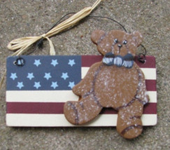 Wood Patriotic Sign  1088 - Bear on Flag - $1.75