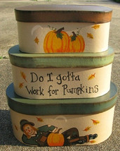 Primitive Nesting Boxes B11SC - Fall Stacking Boxes s/3 Paper Mache' - $18.95