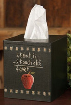 Primitive Tissue Box Cover TB312- 2 Teach is 2 A Touch Paper Mache' - $7.95