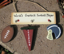 Wooden Sign1200AWorld Greatest Football Player - $1.95