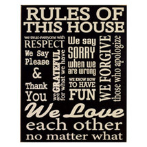 Primitive Wood  Sign 94092 House Rules - $16.95