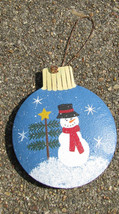 Christmas Ornament OR-526 Snowman Ball w/Tree - Gold Star - $1.95