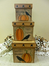 Primitive Nesting Box  202-144  Pumpkin Crow Box, s/3 - $21.95