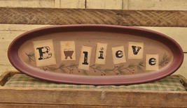 Primitive Wood Plate 32107-Believe Oval Plate - $12.95