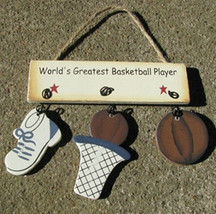 Wooden Sign 1200B-WorldGreatestBasketballPlayer - $1.95