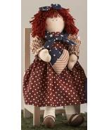 Cloth Primitive Doll    41408-Americana Doll Girl w/heart - $18.95