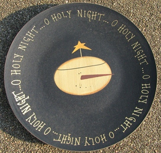 Primary image for Primitive Wooden Plate GRWP84- O Holy Night Plate