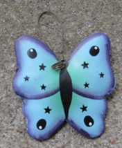 or322 Blue Butterfly Tin Christmas Ornament - $1.95