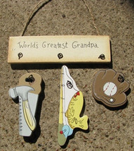 Wooden Sign  WD1200V - World's Greatest Grandpa - $1.95