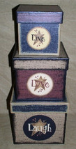 B14LLL-Live Love Laugh s/3 Boxes Paper Mache' Primitive - $19.95
