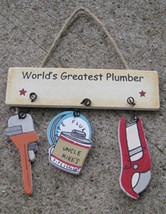 Wooden Sign1800M- Worlds Greatest Plumber - $1.95