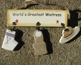 Wooden Sign   1500W - Worlds Greatest Waitress - $1.95