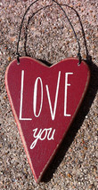 Wood Valentine Heart RO-494 Love You - $2.25