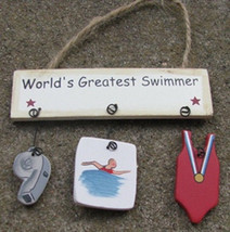 Wooden Sign   1800B - Worlds Greatest Swimmer - $1.95