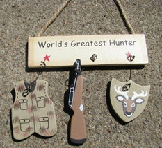 Wooden Sign  1200P-Worlds Greatest Hunter - $1.95