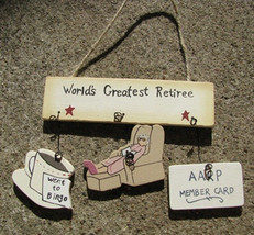 Wooden Sign  1500R-Worlds Greatest Retiree-Woman - $1.95