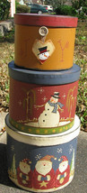 Primitive Nesting  boxes 207967 Snowman and Santa s/3 - $19.95