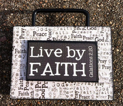 Primitive Wooden Box Sign 36747LF - Live By Faith - $7.95