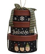 Mini Primitive Nesting Boxes M6107 Believe Box Ornament Paper Mache' - $4.95