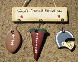 Wooden Sign  1500Z-Worlds Greatest Football Fan - $1.95
