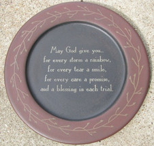 Wood Primitive Plate  31244M - May God Give You... - $11.95