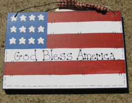 Wood Sign 190F-God Bless America Flag - $2.95