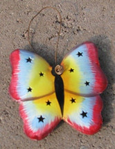 or323   Colorful  Butterfly Tin Ornament Christmas - $1.95