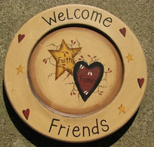 Primitive Wood Plate P10WF -Welcome Friends with hearts and stars  - $11.95