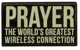 Primitive Wood  Box  Sign 18998  Prayer the World's Greatest Wireless Connection - $11.95