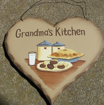 Wood Heart Plaque  HP14 -  Grandma's Kitchen - $3.50