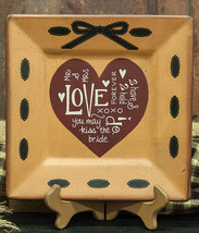 Primitive Wood Plate 32669 Love And Ribbon Square Plate - $11.95