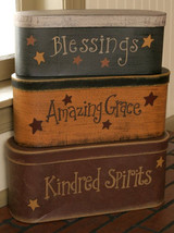 Primtiive Nesting Boxes 3B1303 - Blessings, Grace, Spirits  - Paper Mache' - $37.95
