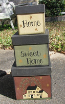 Primitive Nesting  boxes 53527SET 3PCS  HOME SWEET HOME Paper Mache' - $19.95
