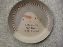 Primitive Snowman Wood Plate 31818C- Keep it Cool Snowman Plate - $12.95