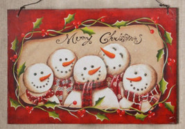 Wood  Plaque  7W1477 Snowman Merry Christmas - $7.95