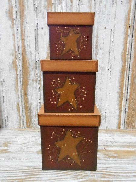 Primary image for Primtiive Nesting Boxes 9600 Star and Vine Set of 3