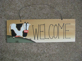 Wood Sign wd2077-Welcome Cow - $3.95