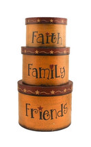 Primitive Nesting Boxes  TWA1462-Faith Family Friends s/3box Paper Mache' - $19.95