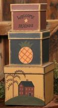 Primitive Nesting Boxes B1305-Welcome Friends s/3 Paper Mache' - $19.95