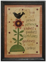 Wood Frame Stitchery Sign  G3053-Love Joy Peace Sampler - $35.95