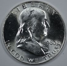 1960 P & D Franklin uncirculated silver half dollars - $36.50