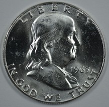 1963 P & D Franklin uncirculated silver half dollars BU - $36.00