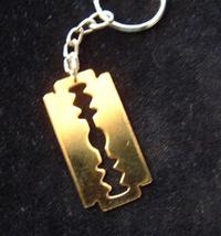 RAZOR BLADE KEYCHAIN-Vintage Punk Fetish Charm Funky Jewelry-BIG - $6.97
